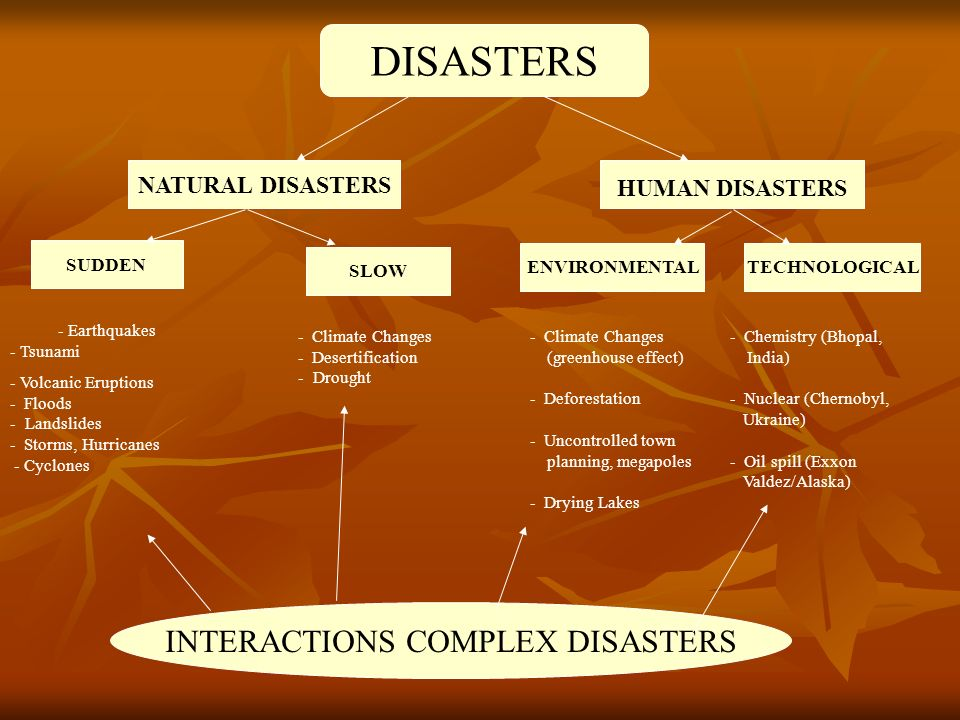 DISASTERS SUDDEN TECHNOLOGICAL SLOW ENVIRONMENTAL NATURAL DISASTERS HUMAN DISASTERS - Earthquakes - Tsunami - Volcanic Eruptions - Floods - Landslides - Storms, Hurricanes - Cyclones - Climate Changes (greenhouse effect) - Deforestation - Uncontrolled town planning, megapoles - Drying Lakes - Chemistry (Bhopal, India) - Nuclear (Chernobyl, Ukraine) - Oil spill (Exxon Valdez/Alaska) - Climate Changes - Desertification - Drought INTERACTIONS COMPLEX DISASTERS