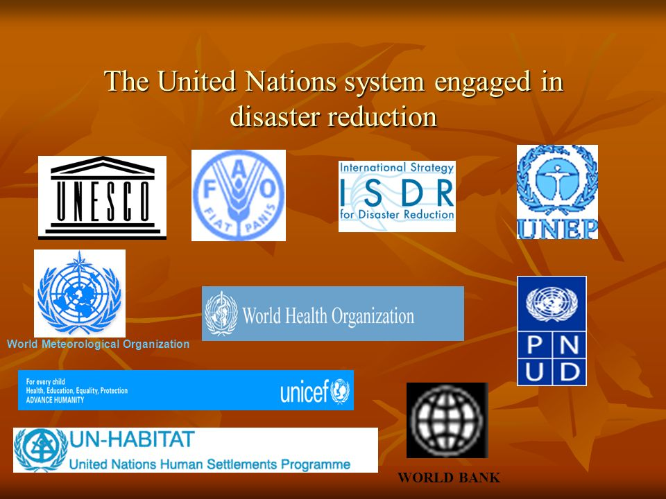 The United Nations system engaged in disaster reduction The United Nations system engaged in disaster reduction World Meteorological Organization WORLD BANK