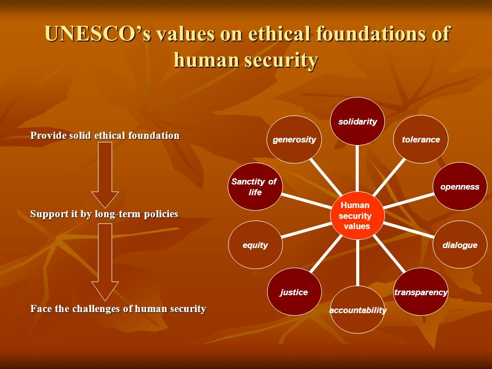 UNESCOs values on ethical foundations of human security Provide solid ethical foundation Support it by long-term policies Face the challenges of human security