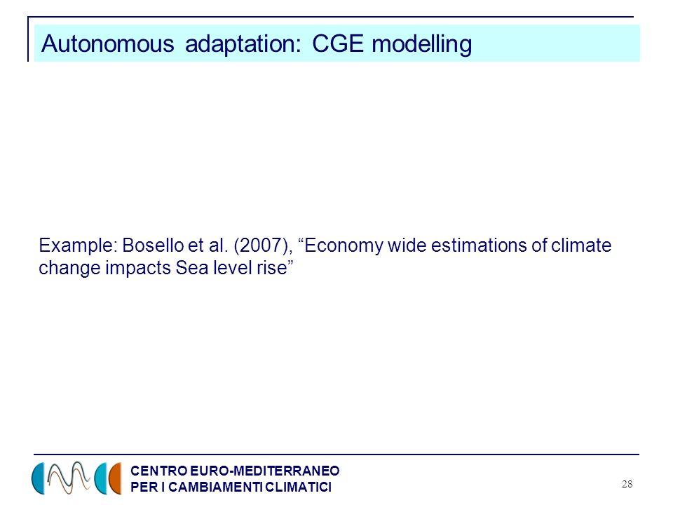 CENTRO EURO-MEDITERRANEO PER I CAMBIAMENTI CLIMATICI 28 Autonomous adaptation: CGE modelling Example: Bosello et al.