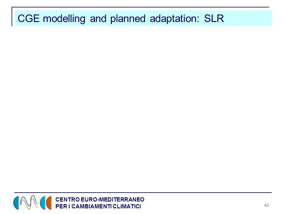 CENTRO EURO-MEDITERRANEO PER I CAMBIAMENTI CLIMATICI 43 CGE modelling and planned adaptation: SLR