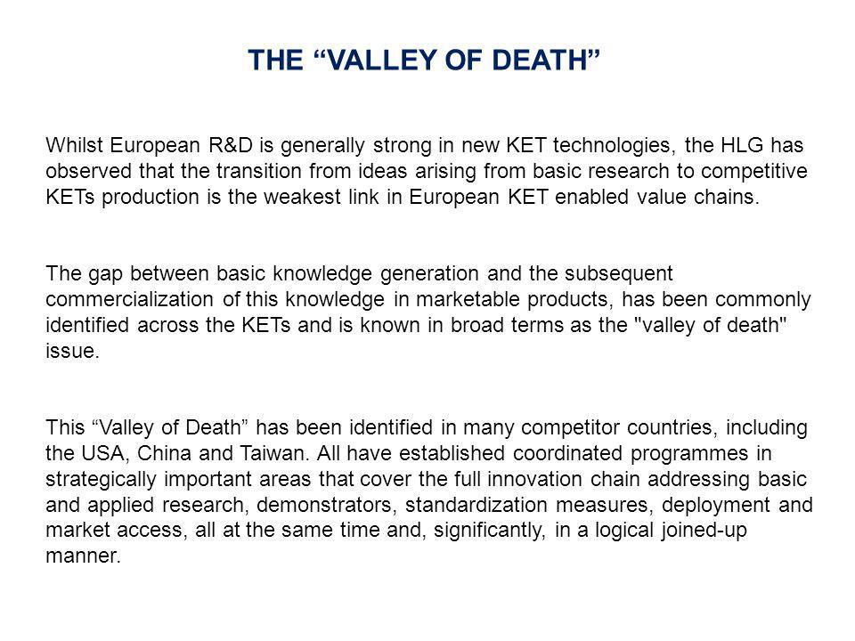 Whilst European R&D is generally strong in new KET technologies, the HLG has observed that the transition from ideas arising from basic research to co
