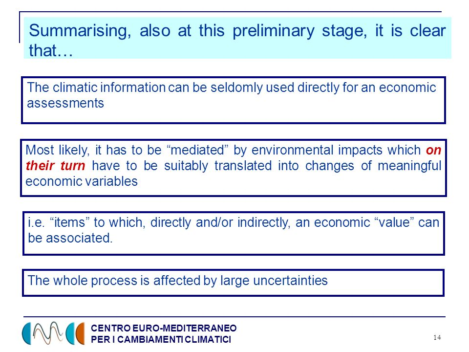CENTRO EURO-MEDITERRANEO PER I CAMBIAMENTI CLIMATICI 14 The climatic information can be seldomly used directly for an economic assessments Most likely
