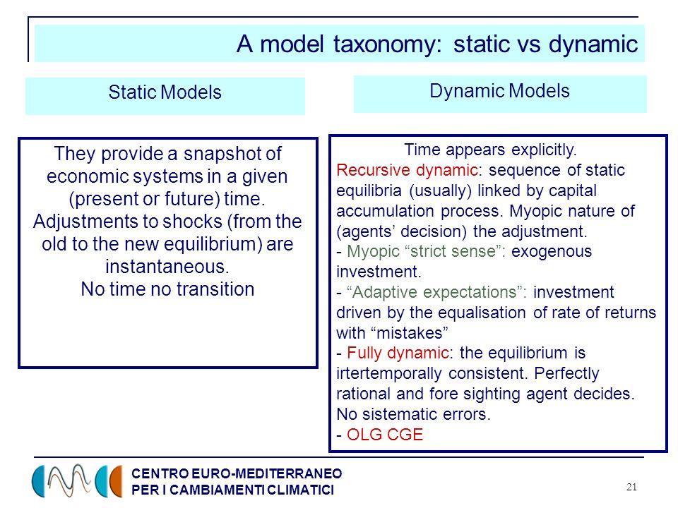 CENTRO EURO-MEDITERRANEO PER I CAMBIAMENTI CLIMATICI 21 A model taxonomy: static vs dynamic Static Models Dynamic Models They provide a snapshot of ec