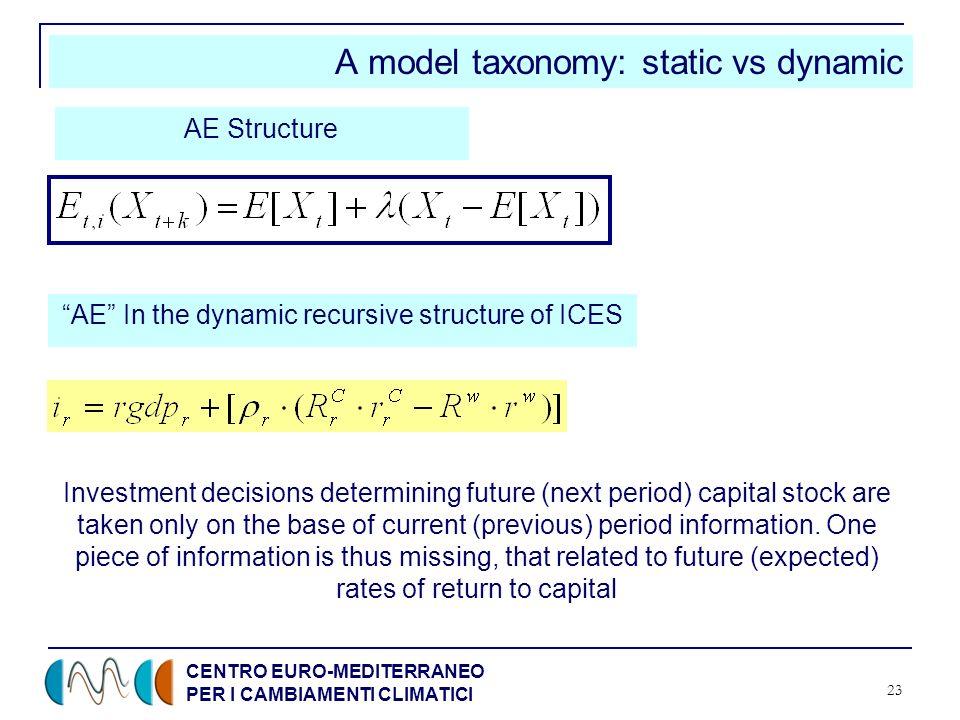 CENTRO EURO-MEDITERRANEO PER I CAMBIAMENTI CLIMATICI 23 A model taxonomy: static vs dynamic AE Structure AE In the dynamic recursive structure of ICES