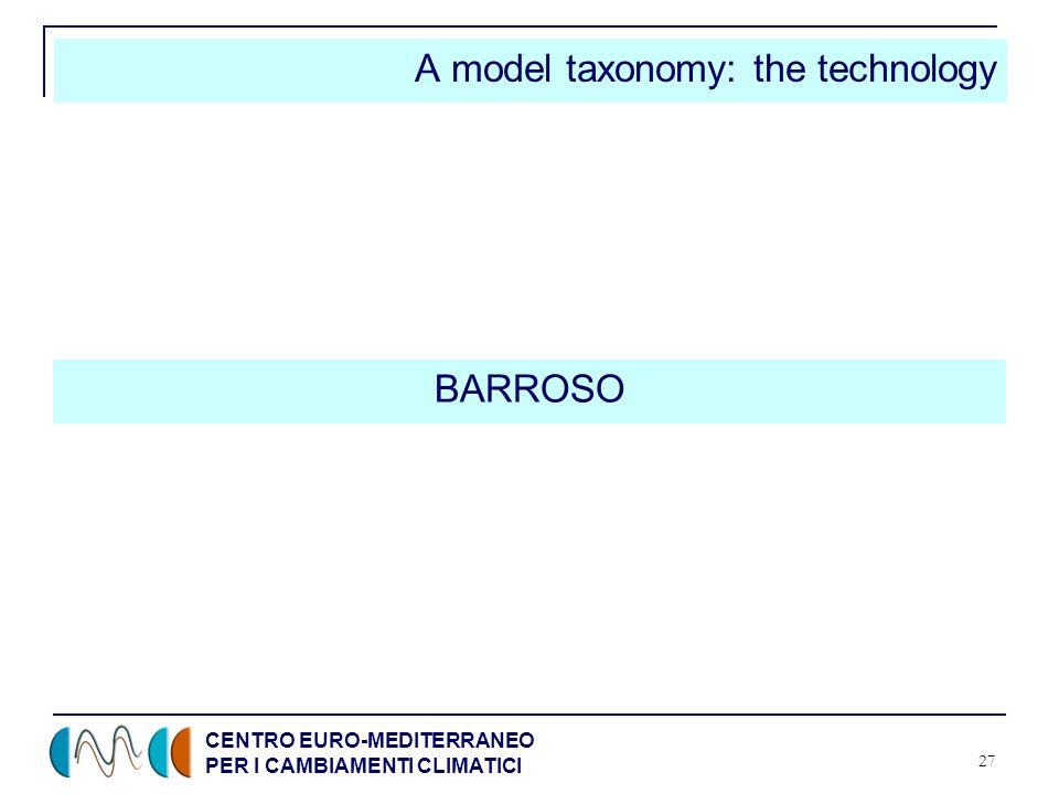 CENTRO EURO-MEDITERRANEO PER I CAMBIAMENTI CLIMATICI 27 A model taxonomy: the technology BARROSO