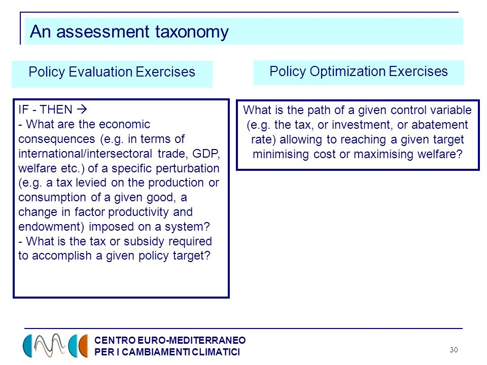 CENTRO EURO-MEDITERRANEO PER I CAMBIAMENTI CLIMATICI 30 An assessment taxonomy Policy Evaluation Exercises Policy Optimization Exercises IF - THEN - W