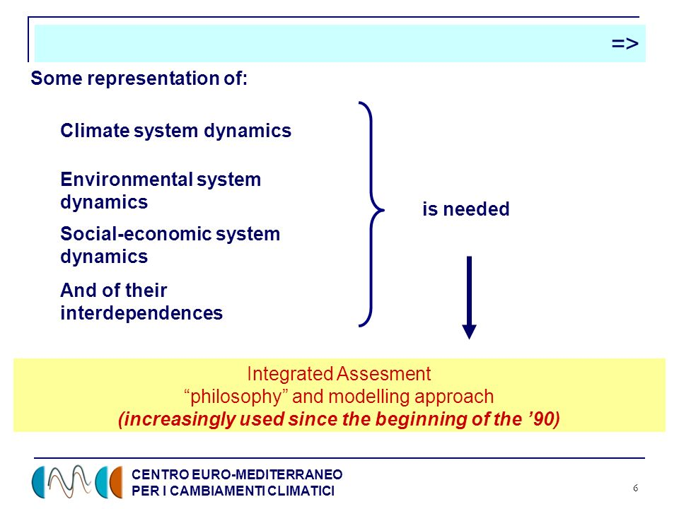 CENTRO EURO-MEDITERRANEO PER I CAMBIAMENTI CLIMATICI 6 => Climate system dynamics Environmental system dynamics Social-economic system dynamics And of their interdependences is needed Integrated Assesment philosophy and modelling approach (increasingly used since the beginning of the 90) Some representation of: