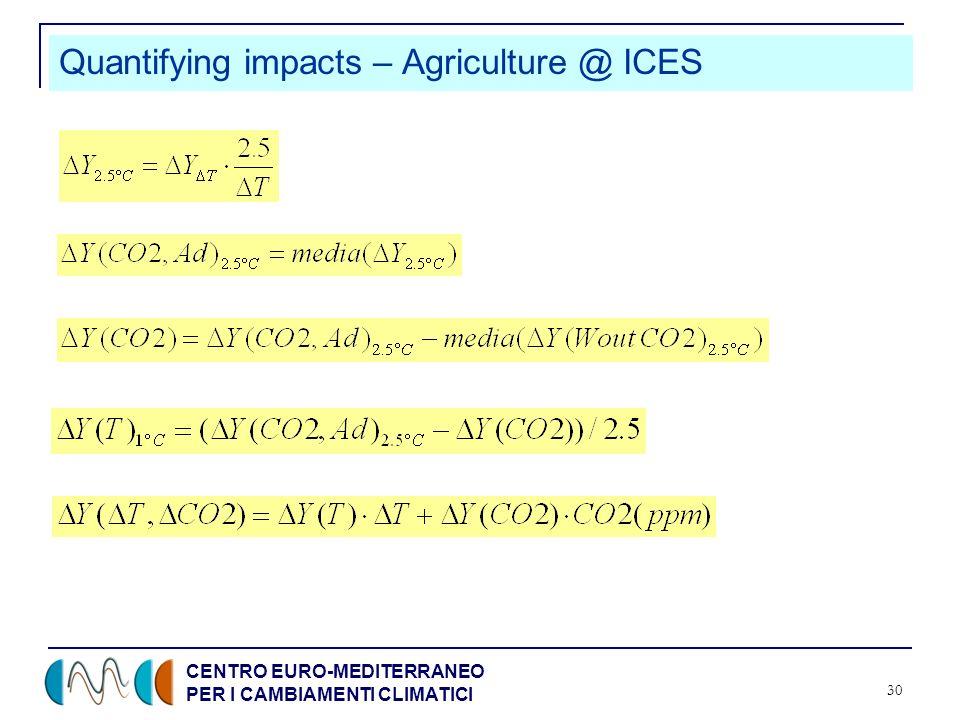 CENTRO EURO-MEDITERRANEO PER I CAMBIAMENTI CLIMATICI 30 Quantifying impacts – Agriculture @ ICES