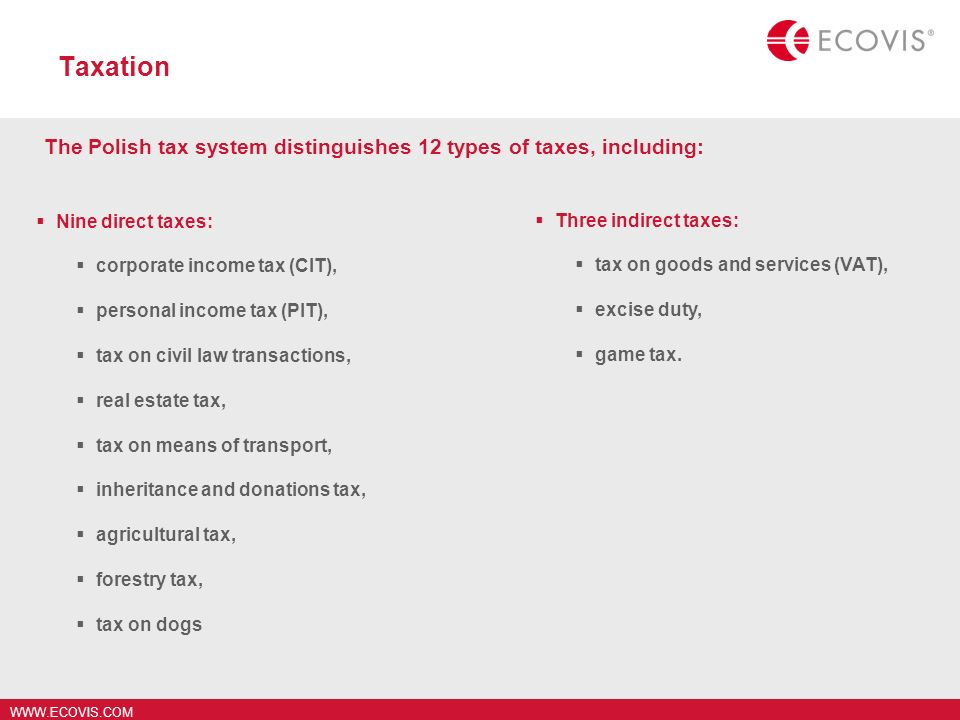 WWW.ECOVIS.COM Taxation Nine direct taxes: corporate income tax (CIT), personal income tax (PIT), tax on civil law transactions, real estate tax, tax