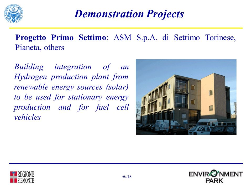 14/16 Demonstration Projects Progetto Primo Settimo: ASM S.p.A.