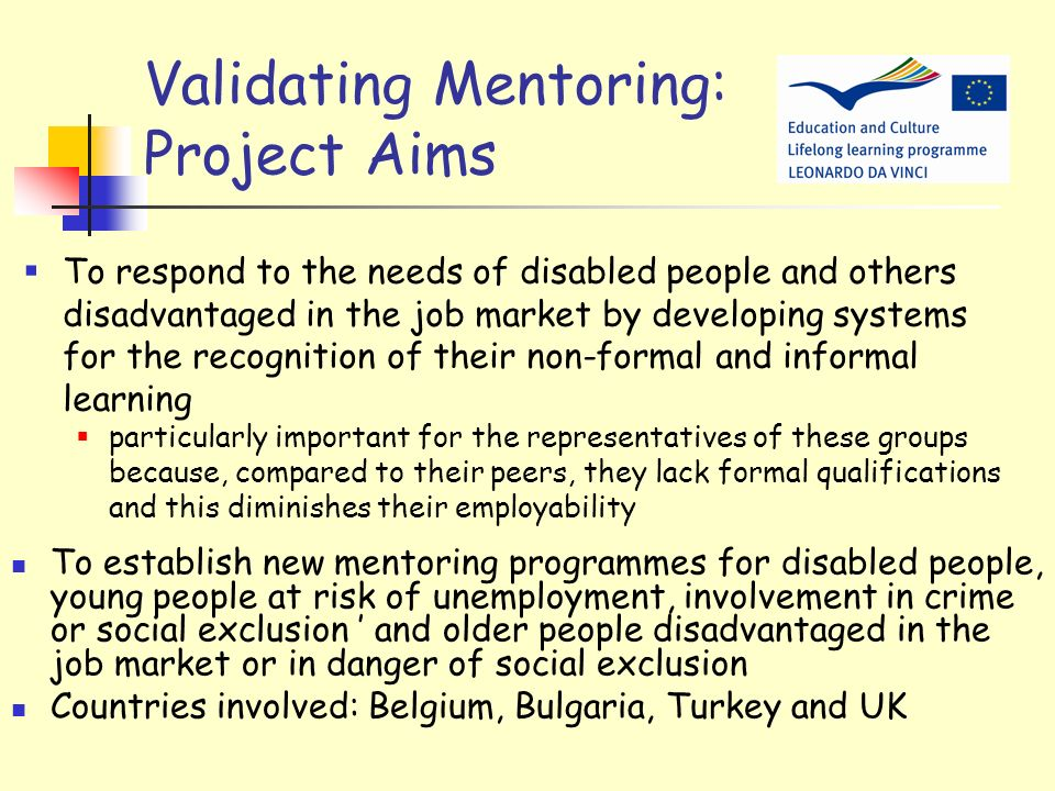 Validating Mentoring Project Validating Mentoring 2 (VM2) is a continuation of 3 successful previous LdV projects: EODPE, Validation of Mentoring and