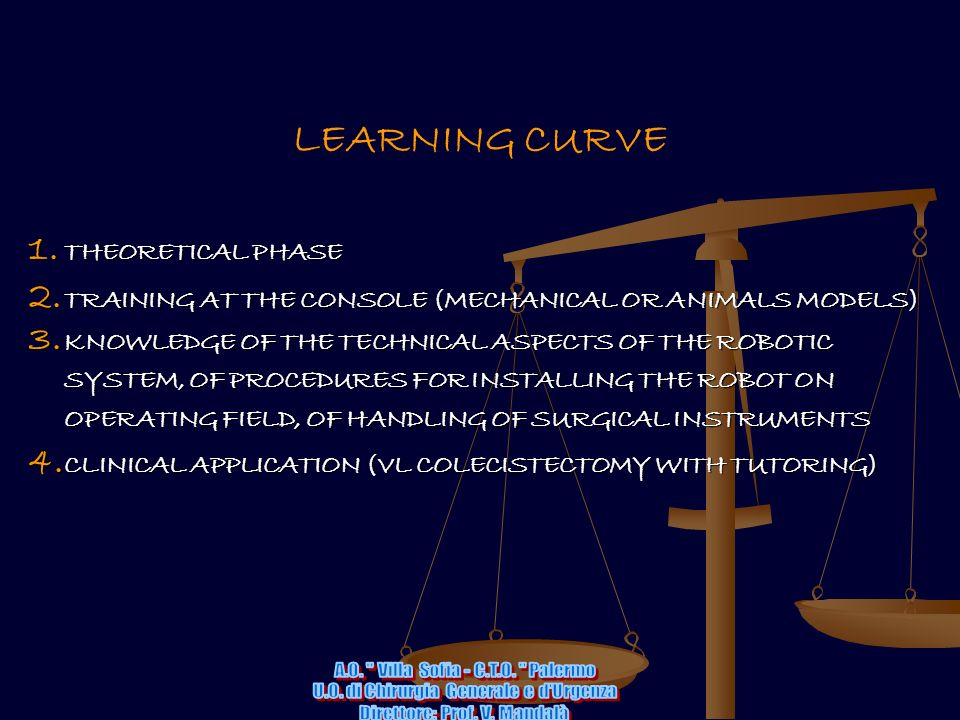 LEARNING CURVE 1. THEORETICAL PHASE 2. TRAINING AT THE CONSOLE (MECHANICAL OR ANIMALS MODELS) 3. KNOWLEDGE OF THE TECHNICAL ASPECTS OF THE ROBOTIC SYS
