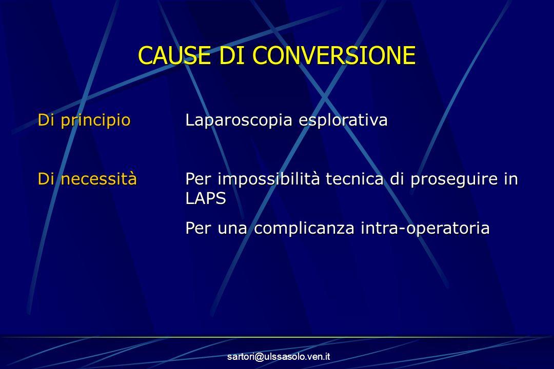sartori@ulssasolo.ven.it CAUSE DI CONVERSIONE Di principioLaparoscopia esplorativa Di necessitàPer impossibilità tecnica di proseguire in LAPS Per una