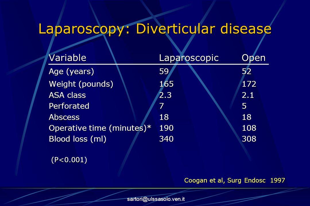 sartori@ulssasolo.ven.it Laparoscopy: Diverticular disease VariableLaparoscopicOpen Age (years)5952 Weight (pounds)165172 ASA class2.32.1 Perforated75