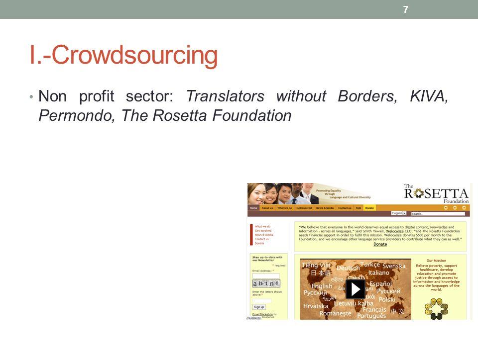 I.-Crowdsourcing Non profit sector: Translators without Borders, KIVA, Permondo, The Rosetta Foundation 7