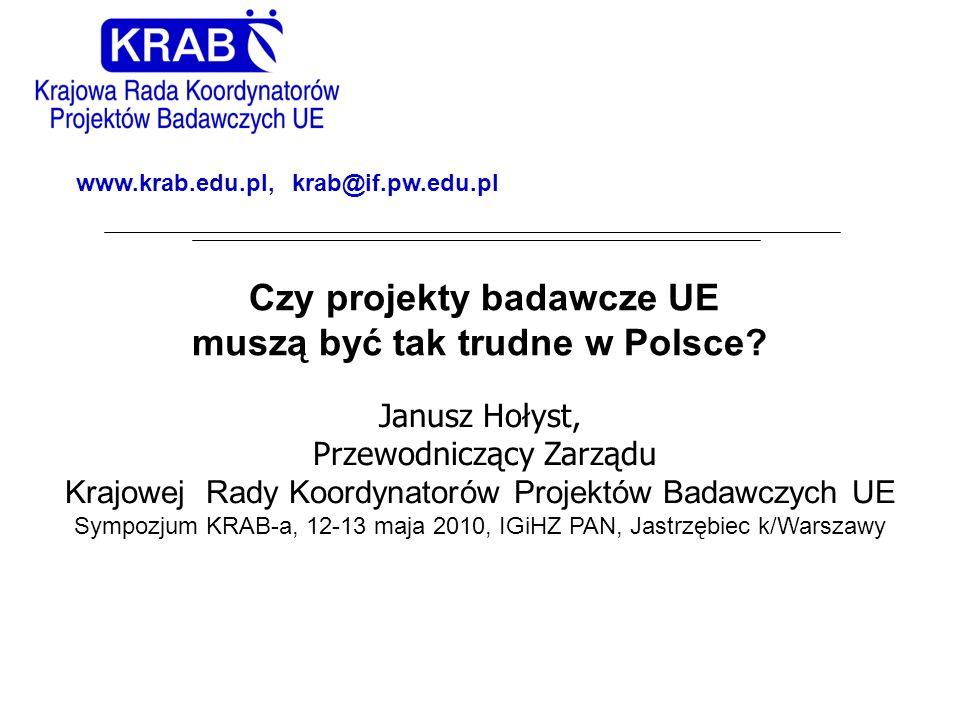 Czy projekty badawcze UE muszą być tak trudne w Polsce? Janusz Hołyst, Przewodniczący Zarządu Krajowej Rady Koordynatorów Projektów Badawczych UE Symp
