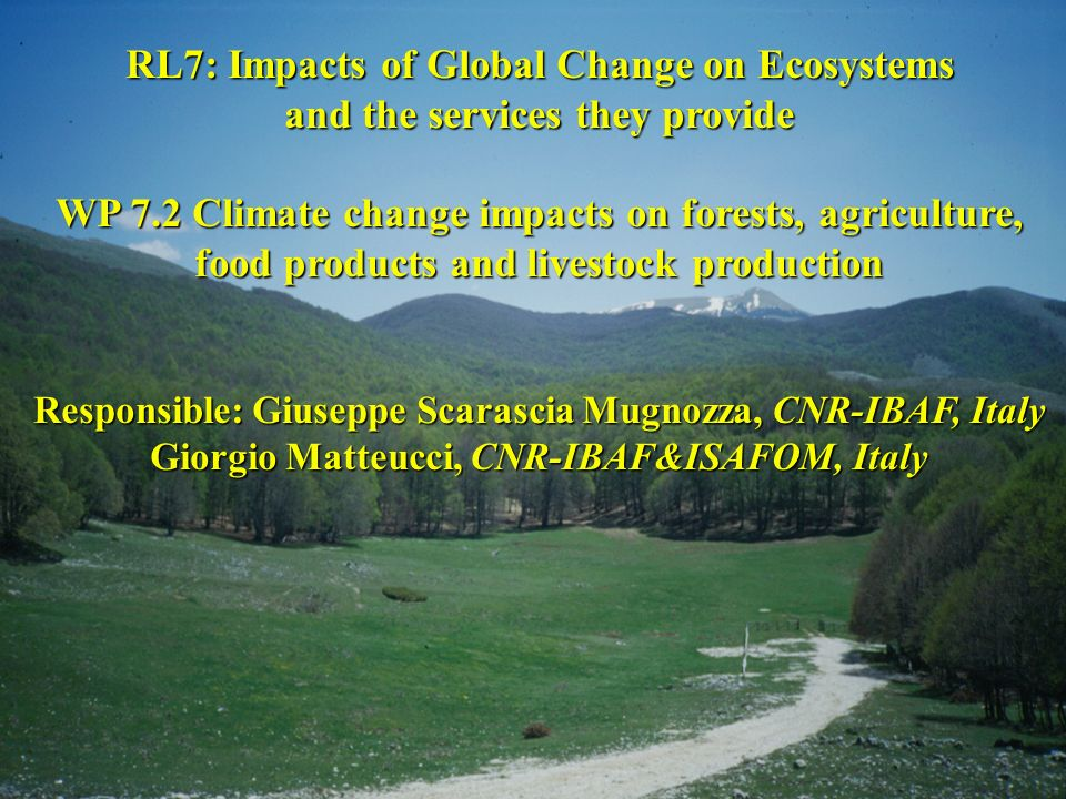 RL7: Impacts of Global Change on Ecosystems and the services they provide WP 7.2 Climate change impacts on forests, agriculture, food products and liv