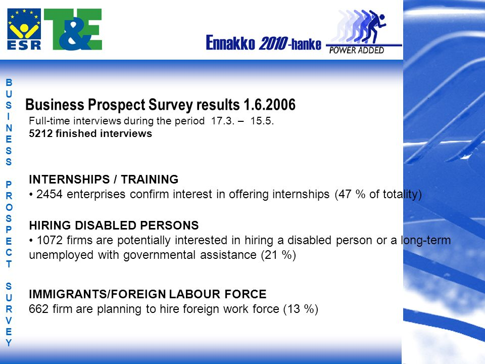 BUSINESS PROSPECT SURVEYBUSINESS PROSPECT SURVEY INTERNSHIPS / TRAINING 2454 enterprises confirm interest in offering internships (47 % of totality) HIRING DISABLED PERSONS 1072 firms are potentially interested in hiring a disabled person or a long-term unemployed with governmental assistance (21 %) IMMIGRANTS/FOREIGN LABOUR FORCE 662 firm are planning to hire foreign work force (13 %) Business Prospect Survey results 1.6.2006 Full-time interviews during the period 17.3.