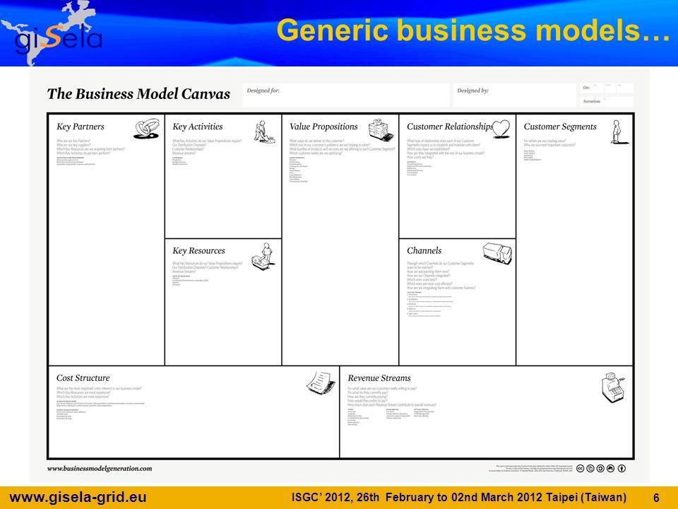 www.gisela-grid.eu Generic business models… 6 ISGC 2012, 26th February to 02nd March 2012 Taipei (Taiwan)