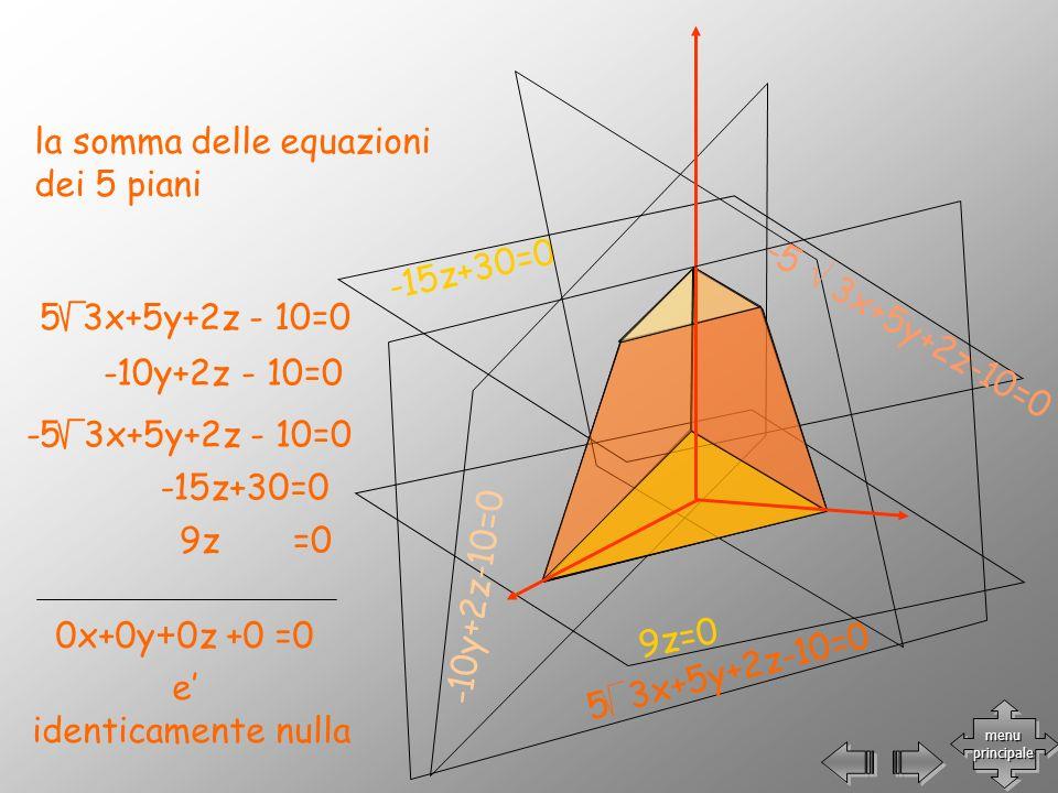 -15z+30=0 9z=0 -10y+2z-10=0 -5 3x+5y+2z-10=0 5 3x+5y+2z-10=0 la somma delle equazioni dei 5 piani -10y+2z - 10=0 -15z+30=0 9z =0 0x+0y+0z +0 =0 e iden