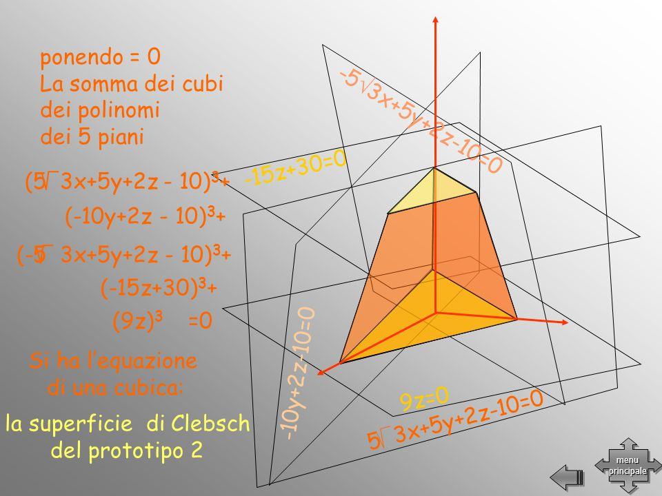 -15z+30=0 9z=0 -10y+2z-10=0 -5 3x+5y+2z-10=0 5 3x+5y+2z-10=0 (-10y+2z - 10) 3 + (-15z+30) 3 + (9z) 3 =0 (5 3x+5y+2z - 10) 3 + (-5 3x+5y+2z - 10) 3 + p