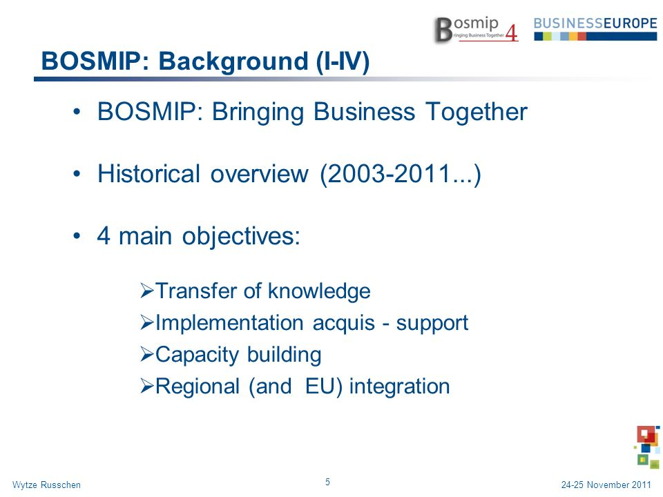 BOSMIP: Background (I-IV) BOSMIP: Bringing Business Together Historical overview (2003-2011...) 4 main objectives: Transfer of knowledge Implementation acquis - support Capacity building Regional (and EU) integration 5 Wytze Russchen24-25 November 2011