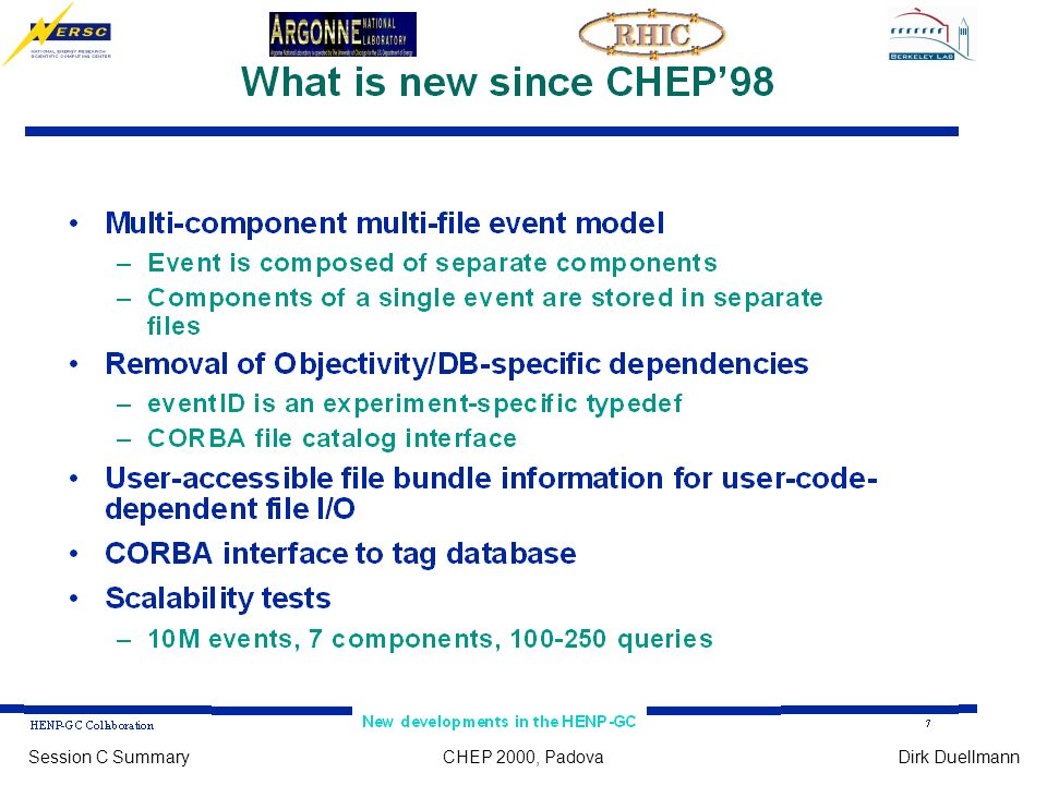CHEP 2000, PadovaSession C SummaryDirk Duellmann