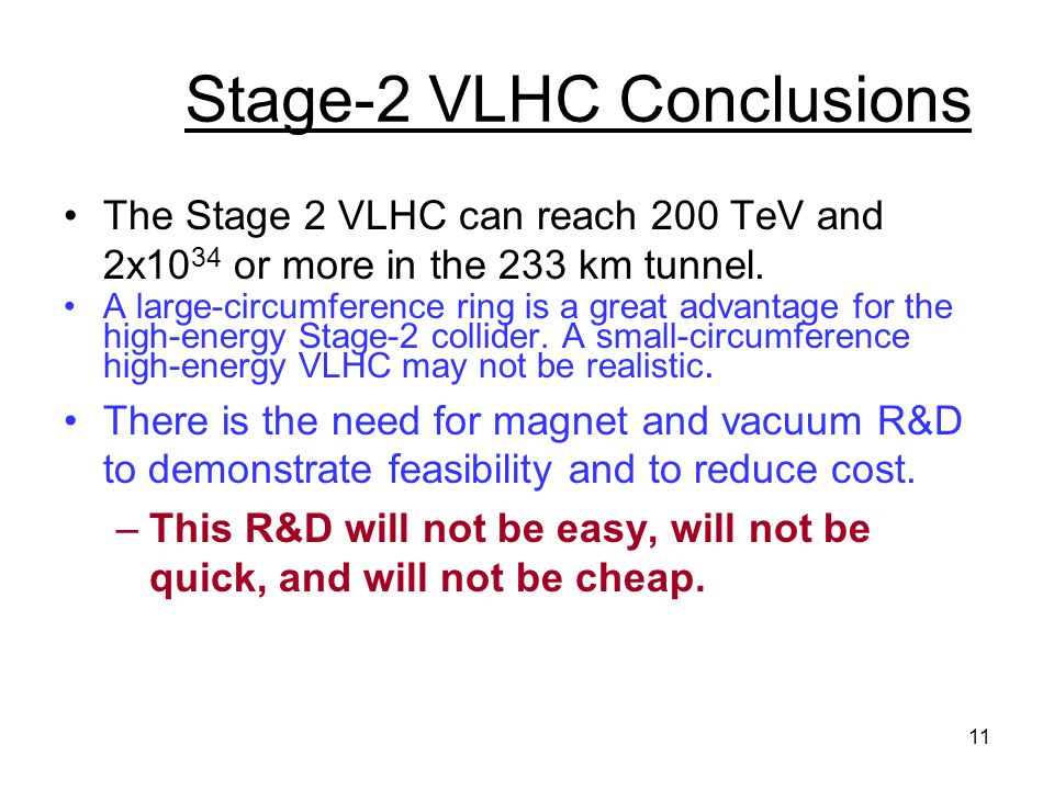 11 Stage-2 VLHC Conclusions The Stage 2 VLHC can reach 200 TeV and 2x10 34 or more in the 233 km tunnel.