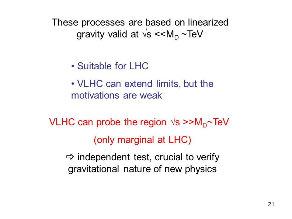 21 These processes are based on linearized gravity valid at s <<M D ~TeV Suitable for LHC VLHC can extend limits, but the motivations are weak VLHC can probe the region s >>M D ~TeV (only marginal at LHC) independent test, crucial to verify gravitational nature of new physics