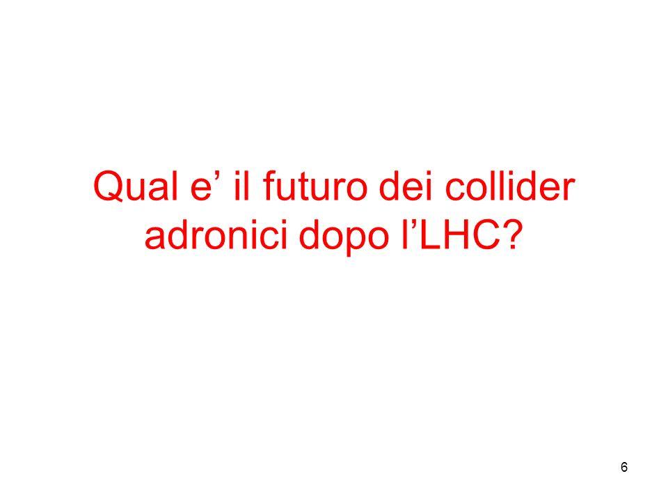 6 Qual e il futuro dei collider adronici dopo lLHC
