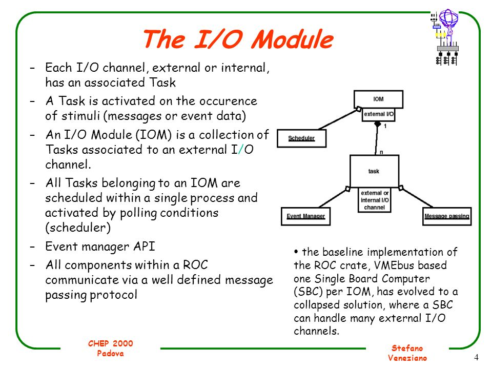 CHEP 2000 Padova Stefano Veneziano 4 The I/O Module –Each I/O channel, external or internal, has an associated Task –A Task is activated on the occure
