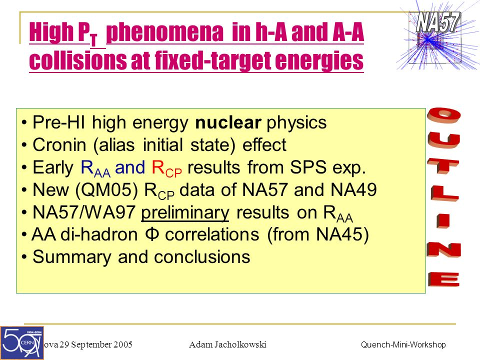 Adam JacholkowskiPadova 29 September 2005 Quench-Mini-Workshop High P T phenomena in h-A and A-A collisions at fixed-target energies Pre-HI high energy nuclear physics Cronin (alias initial state) effect Early R AA and R CP results from SPS exp.