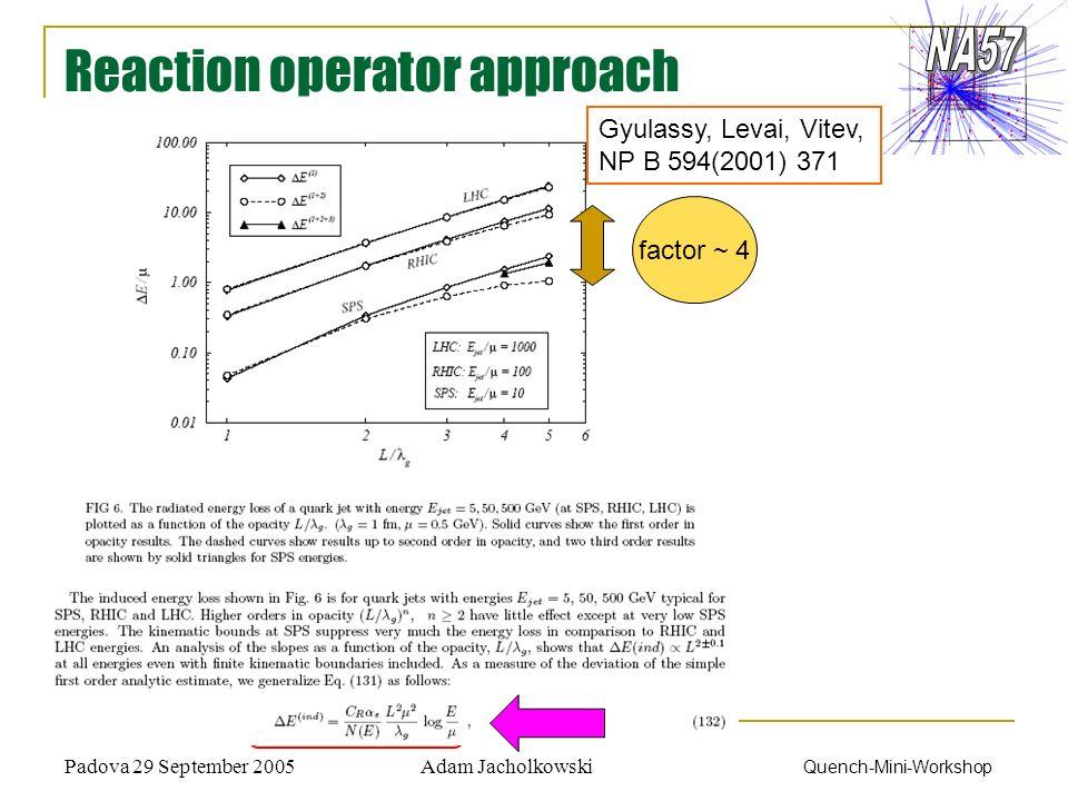 Adam JacholkowskiPadova 29 September 2005 Quench-Mini-Workshop Reaction operator approach Gyulassy, Levai, Vitev, NP B 594(2001) 371 factor ~ 4