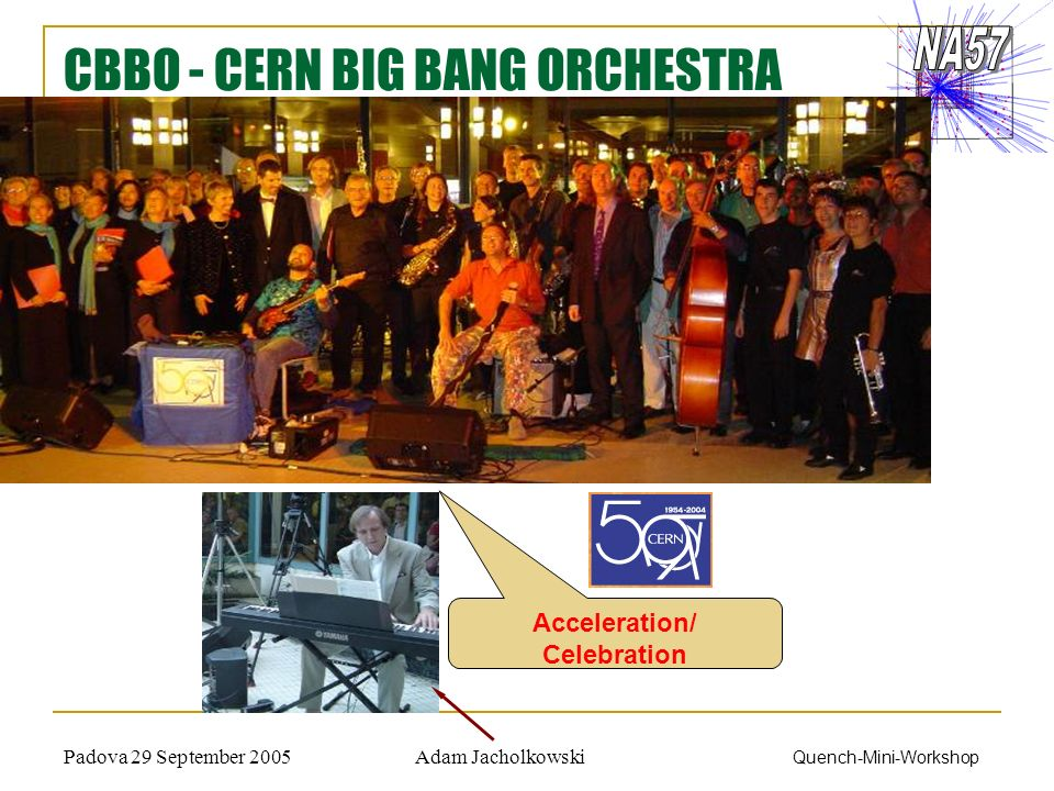 Adam JacholkowskiPadova 29 September 2005 Quench-Mini-Workshop CBBO - CERN BIG BANG ORCHESTRA Acceleration/ Celebration