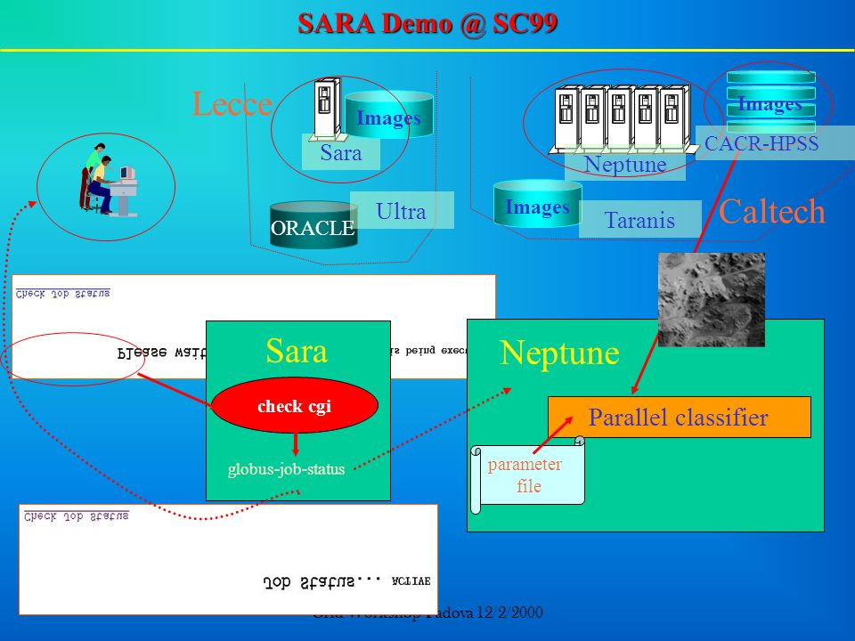 Grid Workshop-Padova 12/2/2000 ORACLE Lecce Sara Neptune Ultra Images Taranis Images Caltech Images Sara check cgi Neptune globus-job-status Parallel classifier parameter file CACR-HPSS SARA Demo @ SC99
