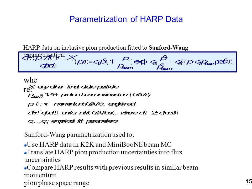 15 Parametrization of HARP Data HARP data on inclusive pion production fitted to Sanford-Wang parametrization: whe re: Sanford-Wang parametrization used to: Use HARP data in K2K and MiniBooNE beam MC Translate HARP pion production uncertainties into flux uncertainties Compare HARP results with previous results in similar beam momentum, pion phase space range