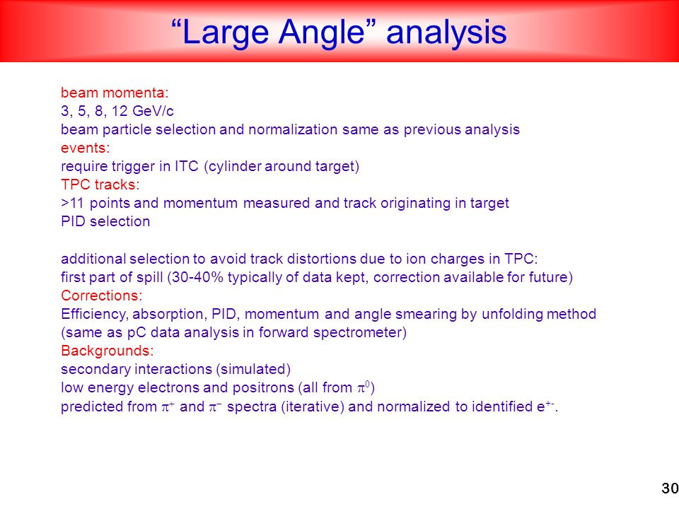 30 Large Angle analysis beam momenta: 3, 5, 8, 12 GeV/c beam particle selection and normalization same as previous analysis events: require trigger in ITC (cylinder around target) TPC tracks: >11 points and momentum measured and track originating in target PID selection additional selection to avoid track distortions due to ion charges in TPC: first part of spill (30-40% typically of data kept, correction available for future) Corrections: Efficiency, absorption, PID, momentum and angle smearing by unfolding method (same as pC data analysis in forward spectrometer) Backgrounds: secondary interactions (simulated) low energy electrons and positrons (all from ) predicted from and spectra (iterative) and normalized to identified e +-.