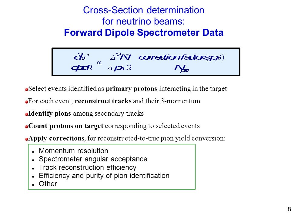 8 Cross-Section determination for neutrino beams: Forward Dipole Spectrometer Data Select events identified as primary protons interacting in the target For each event, reconstruct tracks and their 3-momentum Identify pions among secondary tracks Count protons on target corresponding to selected events Apply corrections, for reconstructed-to-true pion yield conversion: Momentum resolution Spectrometer angular acceptance Track reconstruction efficiency Efficiency and purity of pion identification Other