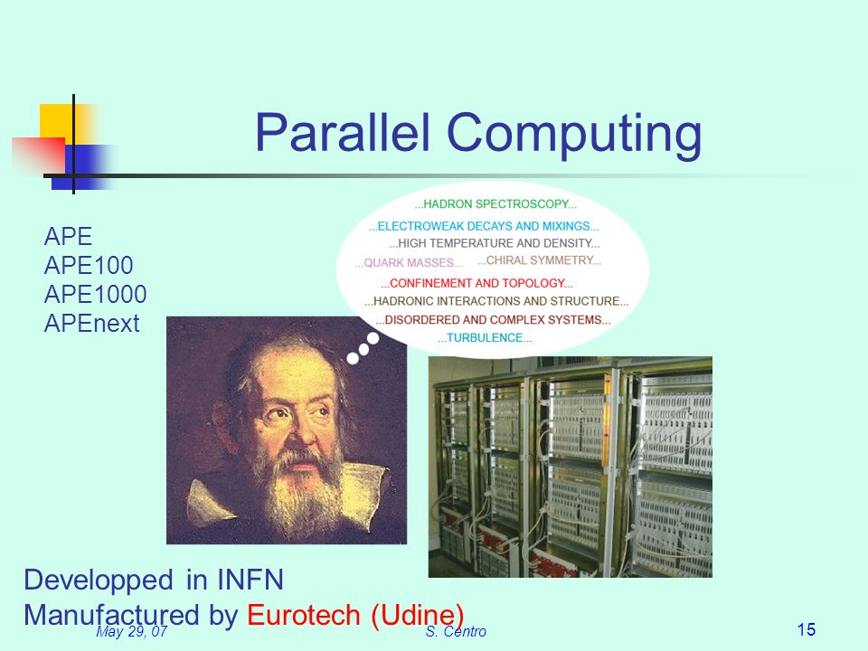 May 29, 07S. Centro 15 Parallel Computing APE APE100 APE1000 APEnext Developped in INFN Manufactured by Eurotech (Udine)