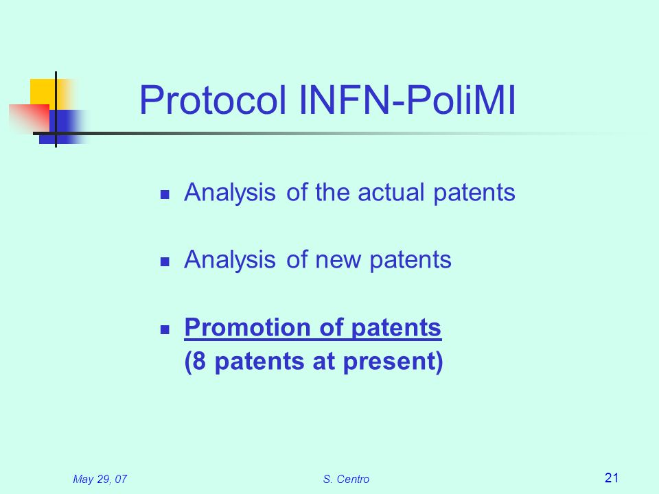 May 29, 07S. Centro 21 Protocol INFN-PoliMI Analysis of the actual patents Analysis of new patents Promotion of patents (8 patents at present)