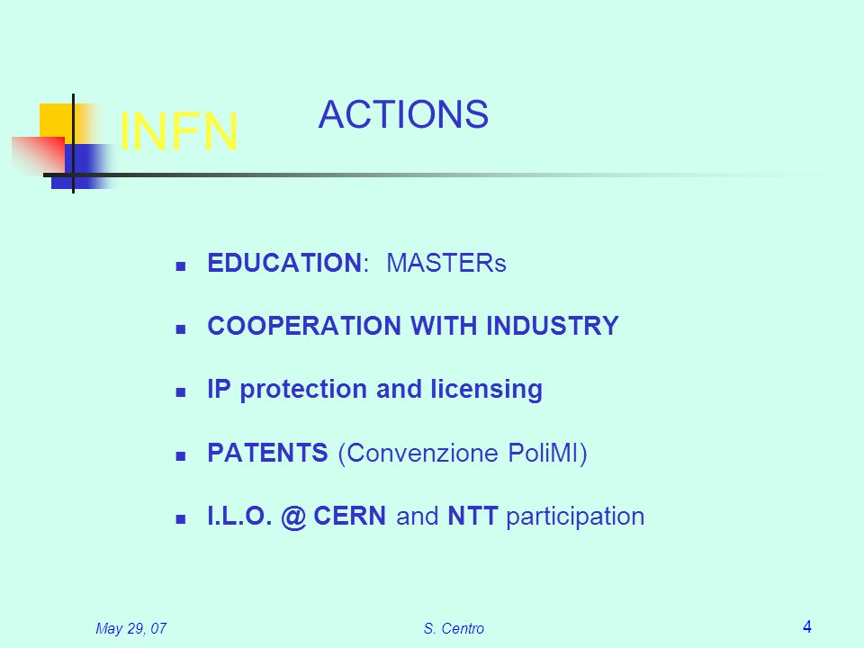 May 29, 07S. Centro 4 INFN EDUCATION: MASTERs COOPERATION WITH INDUSTRY IP protection and licensing PATENTS (Convenzione PoliMI) I.L.O. @ CERN and NTT