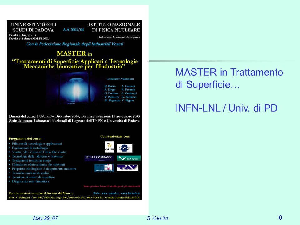 May 29, 07S. Centro 6 MASTER in Trattamento di Superficie… INFN-LNL / Univ. di PD