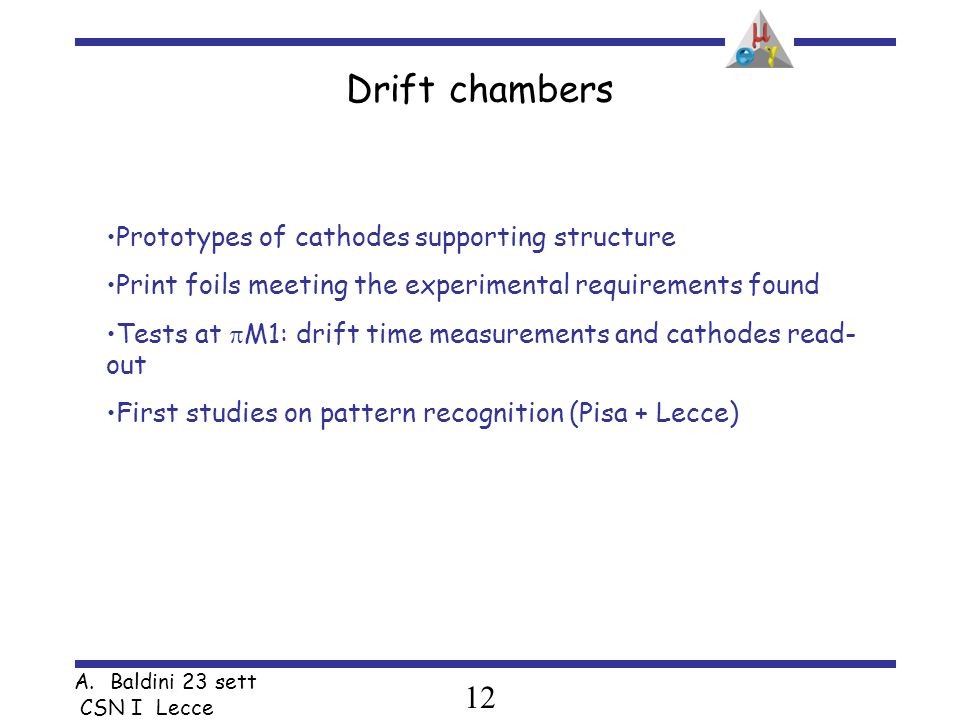 12 A.Baldini 23 sett CSN I Lecce Drift chambers Prototypes of cathodes supporting structure Print foils meeting the experimental requirements found Tests at M1: drift time measurements and cathodes read- out First studies on pattern recognition (Pisa + Lecce)