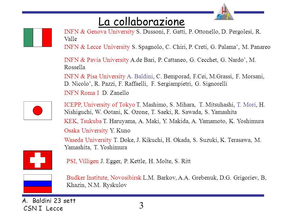 3 A.Baldini 23 sett CSN I Lecce INFN & Pisa University A. Baldini, C. Bemporad, F.Cei, M.Grassi, F. Morsani, D. Nicolo, R. Pazzi, F. Raffaelli, F. Ser