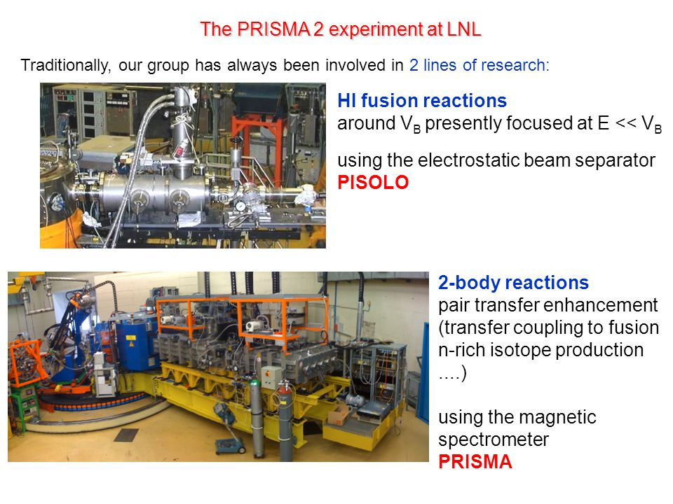 The PRISMA 2 experiment at LNL Traditionally, our group has always been involved in 2 lines of research: HI fusion reactions around V B presently focused at E << V B using the electrostatic beam separator PISOLO 2-body reactions pair transfer enhancement (transfer coupling to fusion n-rich isotope production....) using the magnetic spectrometer PRISMA