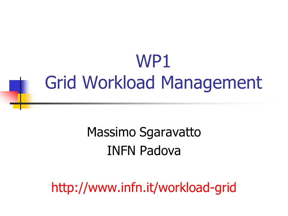 WP1 Grid Workload Management Massimo Sgaravatto INFN Padova