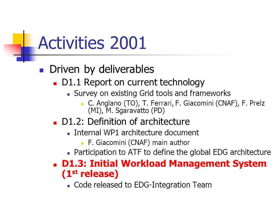 Activities 2001 Driven by deliverables D1.1 Report on current technology Survey on existing Grid tools and frameworks C.