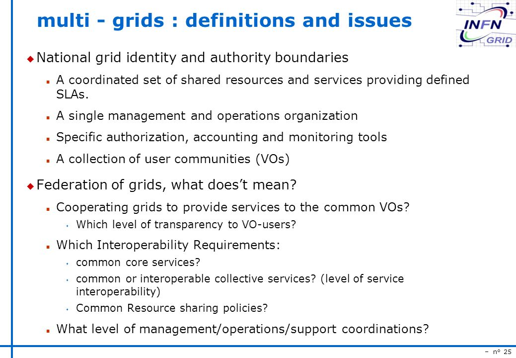 – n° 25 multi - grids : definitions and issues u National grid identity and authority boundaries n A coordinated set of shared resources and services providing defined SLAs.