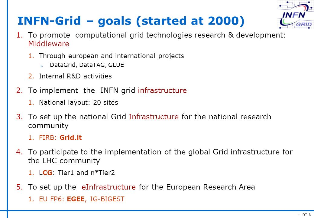 – n° 6 INFN-Grid – goals (started at 2000) 1.To promote computational grid technologies research & development: Middleware 1.Through european and international projects 1.